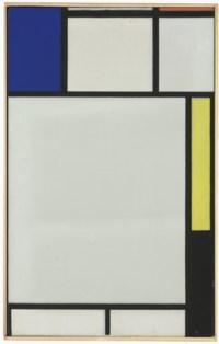 Composition avec bleu, rouge, jaune et noir